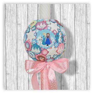 Lumanare handmade pentru fetita cu tematica Frozen cu Anna, Elsa si Olaf. Decoratiunile sunt realizate din pasta polimerica necomestibila insa au un aspect absolut delicios.