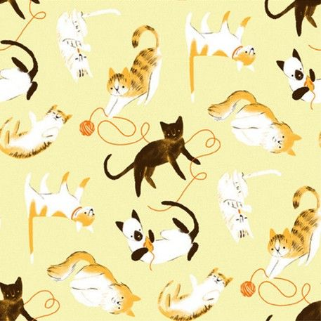 Say 'Here Kitty' With This Yellow Muslin Organic Cotton Print