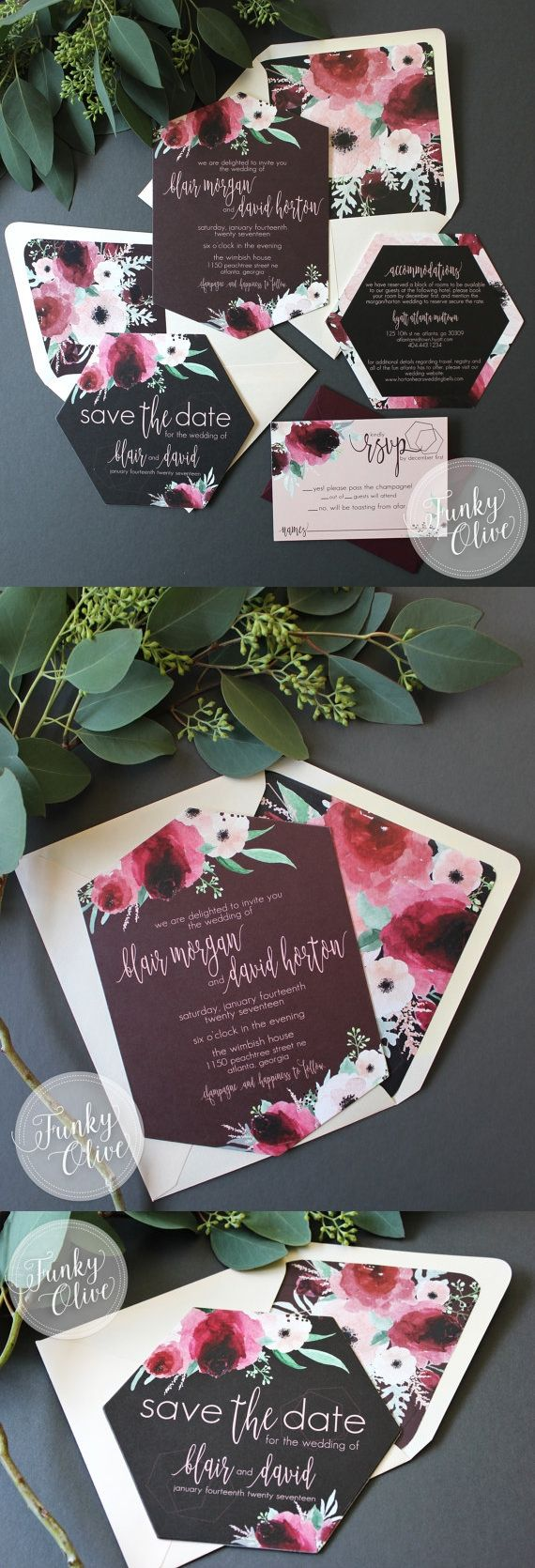 Geometric Boho Dark Watercolor Floral Wedding Invitation Hexagon Burgundy Blush Die Cut Romantic Envelope Liner Charcoal Cranberry Marsala