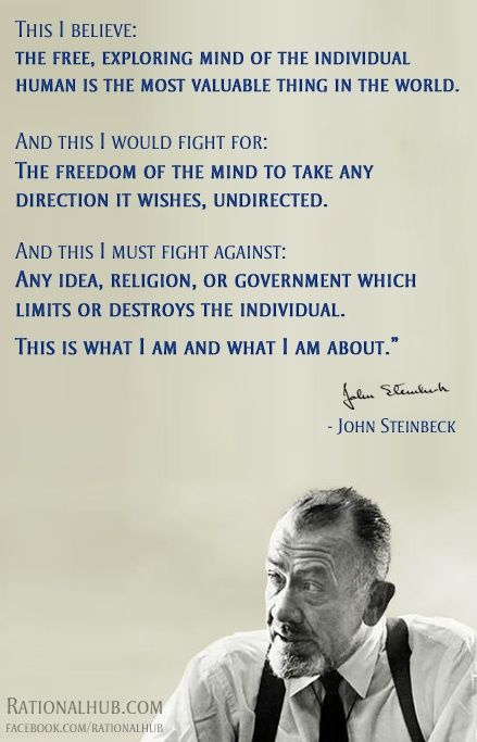 charming life pattern: john steinbeck - quote