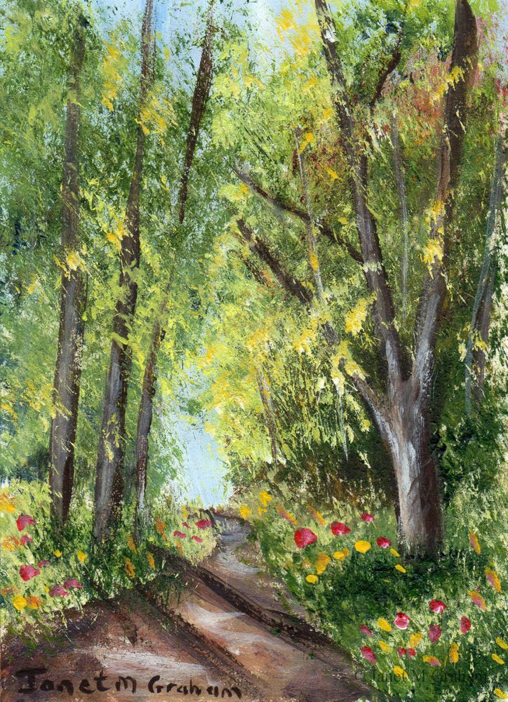 Spring Forest Aceo Trees Flowers Path Original Landscape
