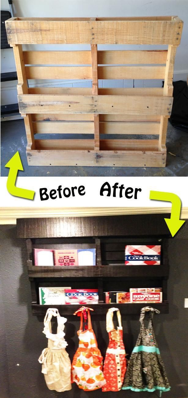 69 best starter pallet ideas images on pinterest home ideas diy cook book shelf using pallet this is my next project my cookbooks need to be seen love the knobs at the bottom could hang my apron and kids solutioingenieria Gallery