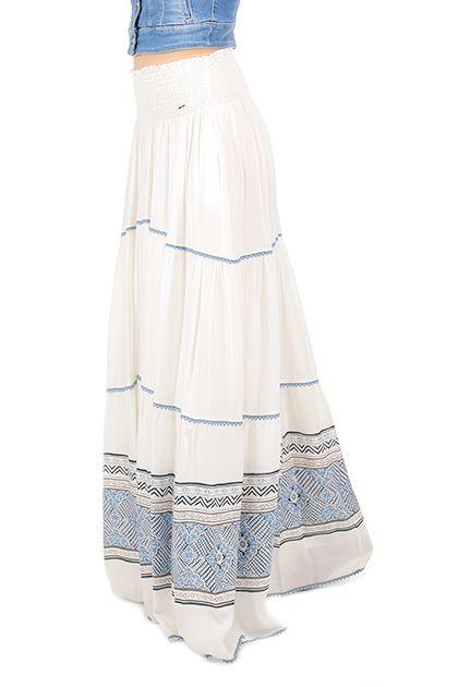 Kocca - Gonne - Abbigliamento - Maxi gonna in viscosa con sottoveste, elastico in vita e disegni a fantasia sul fodno. - F7023 - € 110.00