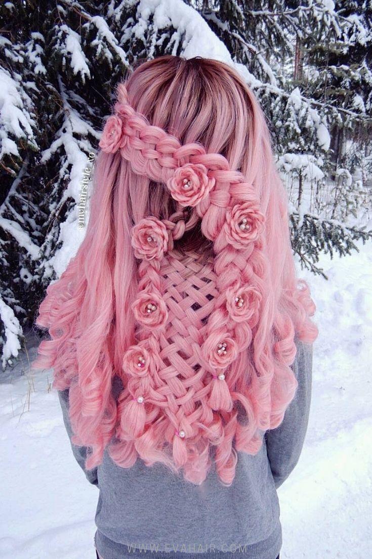 Braided flowers on pink wig for wedding #braidedhairstyles #wedding #wigs #pinkhair #hairstyle   – frisuren