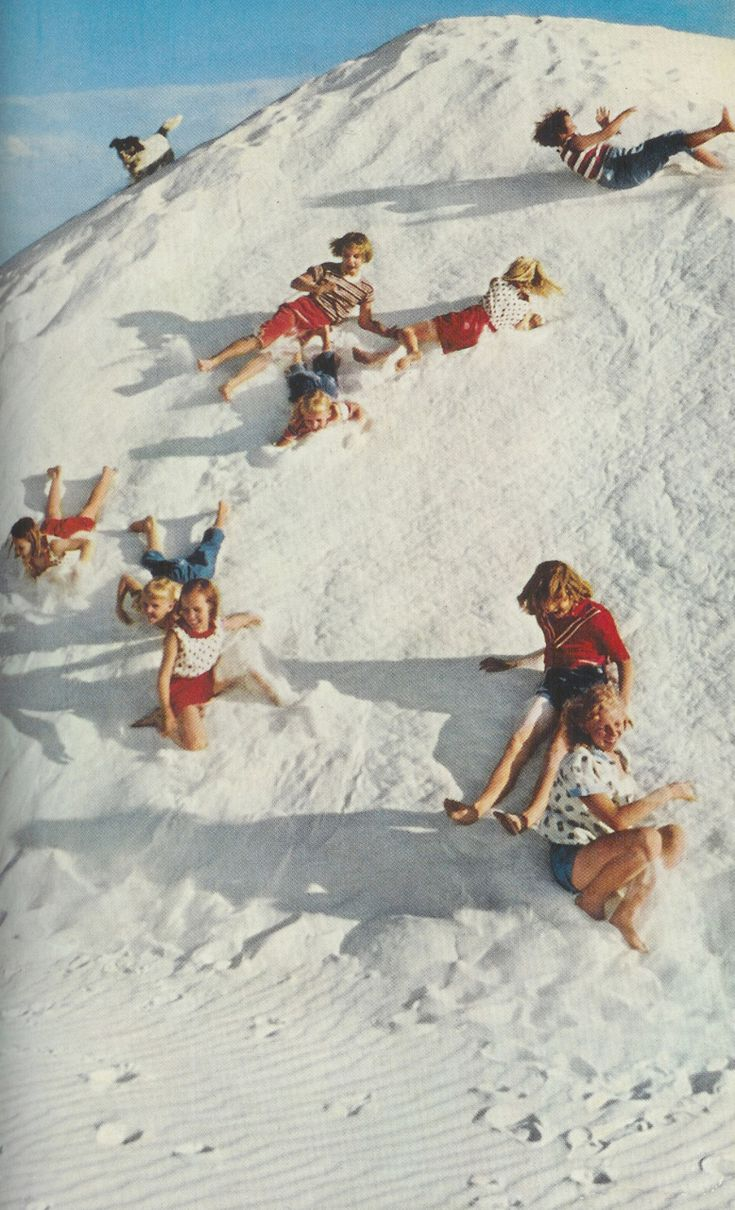 Vintage National Geographic~ Looks like snow. The kids aren't dressed for snow.  It's White Sands, New Mexico, where the sand is as white as snow.