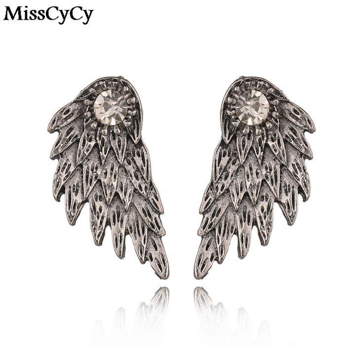 MissCyCy 새로운 고딕 양식의 실버 컬러 천사 날개 합금 스터드 귀걸이 멋진 검은 깃털 귀걸이 여성 남성 패션 보석