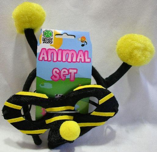 Set cerchietto con antenne e maschera ape. Accessorio per costume di carnevale, travestimento per gioco o festa a tema.