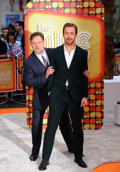 Russell Crowe Photos - Ryan Gosling and Russell Crowe attend the 'The Nice Guys' UK Premiere at Odeon Leicester Square on May 19, 2016 in London, England. - 'The Nice Guys' - UK Premiere - Arrivals