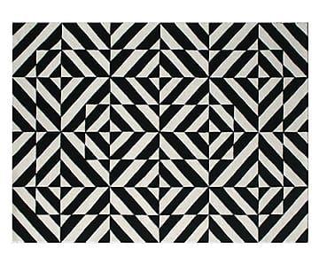 Handgetuft tapijt Riddle, zwart/wit, 240 x 170 cm