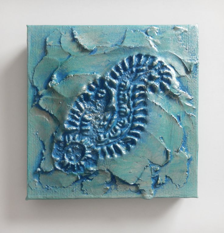 Micro Texture Plaque- Original Acrylic Painting on Canvas by Artist Suzie Nichols (turquoise blue silver imprint textured paisley indian) - pinned by pin4etsy.com