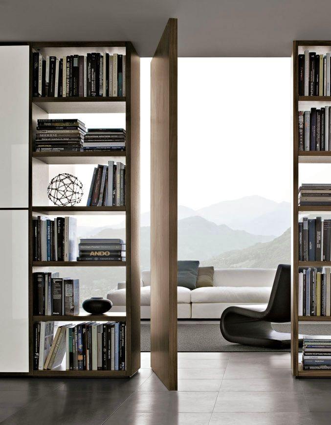Open shelves w/pivot door