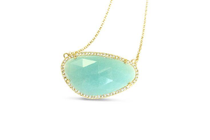 18 ct yellow gold amazonite necklace pavé set with white diamonds