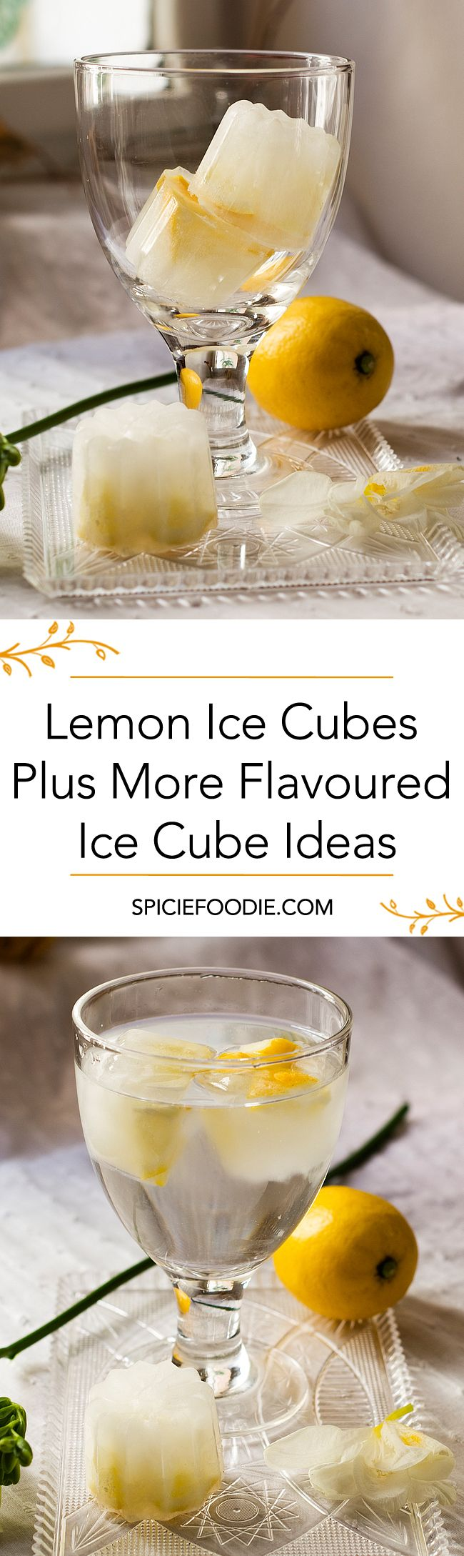 Lemon Ice Cubes + More Flavoured Ice Cube Ideas | #flavouredicecubes #infusedIceCubes #lemon