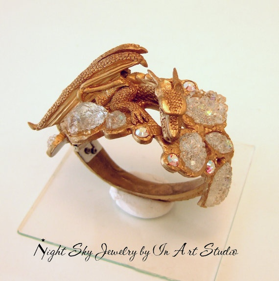 Dragon Bracelet with Jewels Clamper Style - Winged Dragon Jewelry by InArtStudio