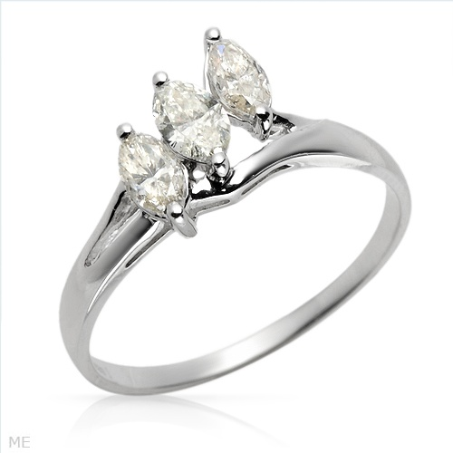 $379.00  Stunning Brand New Three-stone Plus Ring With 0.65ctw Genuine Marquise Cut  Clean Diamonds Made of 14K White Gold- Size 7 - Certificate Available.