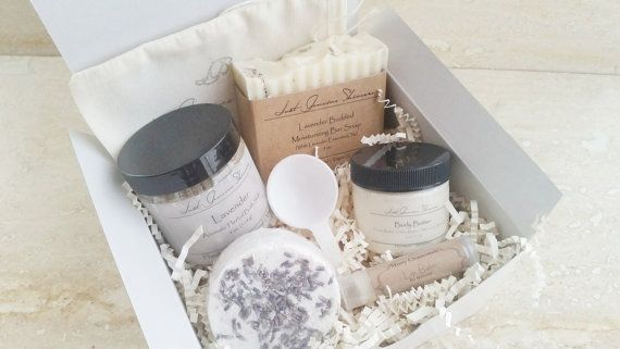 Soap vendor Great for any occasion, our gift set comes boxed, bowed, and tagged as seen in 2nd photo. Bath salts, bath bomb, and body butter are made to
