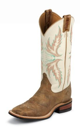 Cute distressed leather western boots w/ white tops, blue stitching and what looks like angel wings <3