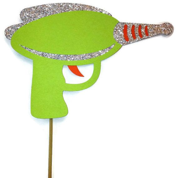 Photo Booth Props - 1 Piece Photo Booth Prop Set-  Space Gun - Photo Booth Prop with Glitter