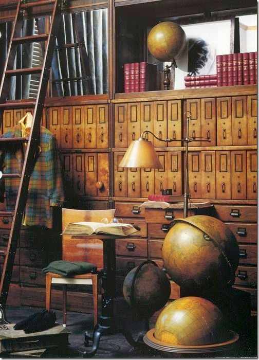 Via cote de texas blog. I love the idea and intelligent placing of globes all shapes and sizes, antique and new. It looks like something from an old european fairy tail.