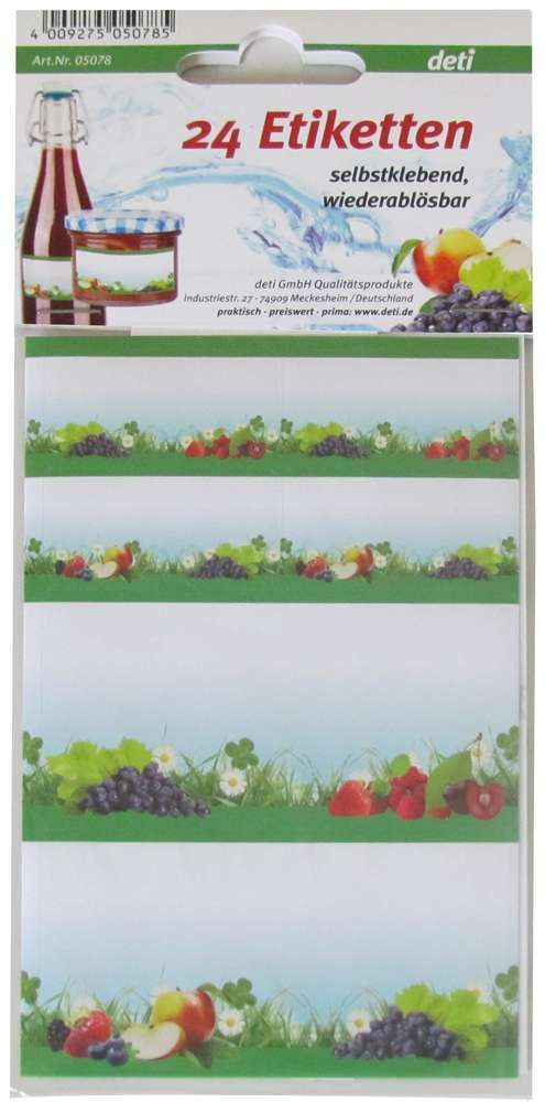 Etiketten voor inmaakpot € 3,95 Deze etiketten zijn geschikt om inmaakpotten en - flessen van een opschrift te voorzien, bijv. met de inhoud en de datum van inmaken. De etiketten zijn zelfklevend, verwijderbaar en beschrijfbaar. De set bevat 24 etiketten in diverse afmetingen en ieder etiket is voorzien van een fruitdecoratie. Merk Kitchen Basics Kleur Groen Hoogte 13.5 cm Breedte 9 cm Diepte 0.1 cm Verpakking kaart Materiaal Papier