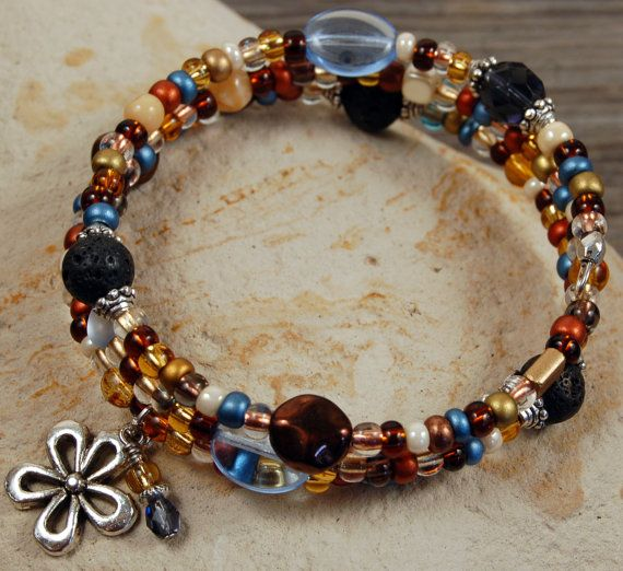 Pewter Charm Blue and Earth Tone Memory Wire Bracelet with Lava Stones. Sky Blue and Natural Colors. Personal Diffuser Bracelet. Aroma Tools