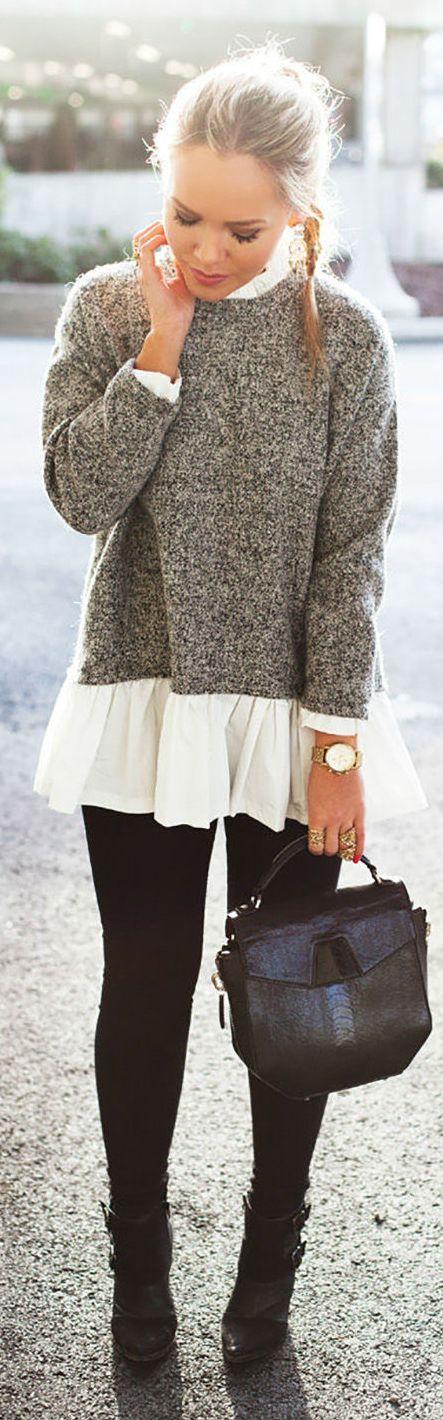 Grey And White Peplum Sweater
