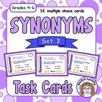 Use these 32 multiple choice task cards to reinforce synonyms. A student answer sheet for students to record their answers is included along with an answer key for self-checking. There is also a Challenge Card that can be used in conjunction with any other card to extend the activity.