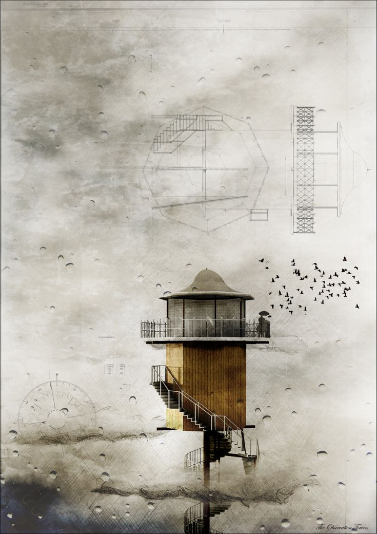 The architecture of solitude: The Observation Station. raindrops collaged with drawing, image