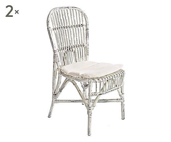 Set di 2 sedie in rattan Arianna - 47x96x59 cm