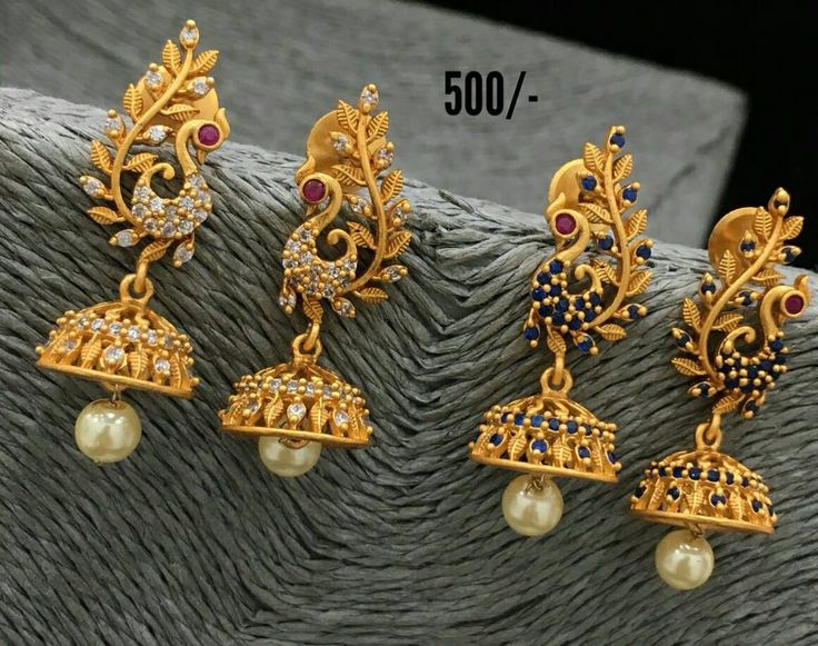 Beautiful jumkhis with peacock design. Earring studded with white and emrald blue color stones. Jumkhis with pearl hangings. 16 January 2018