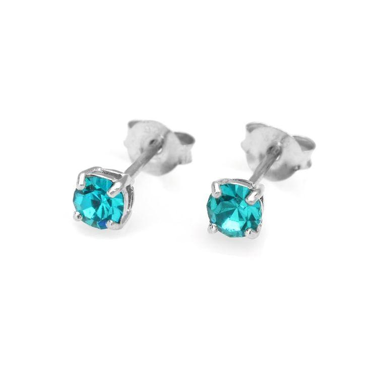 Small & Sweet Silver & Crystal December Birthstone Earrings | John Greed Jewellery