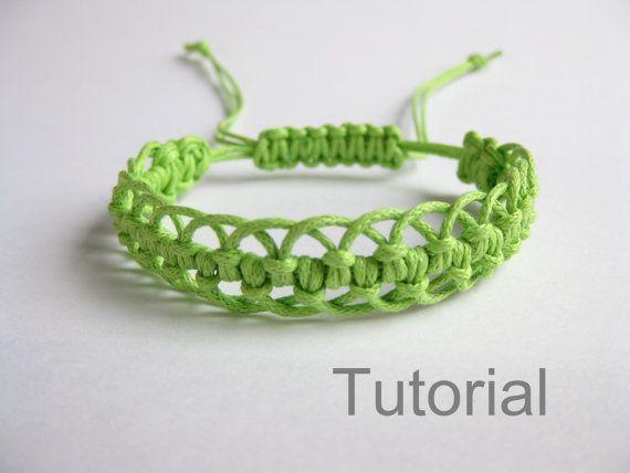 Bracelet modèle macramé pdf tutoriel vert réglable fermoir bijoux makrame tuto étape par étape micro bricolage Noël téléchargement immédiat micro