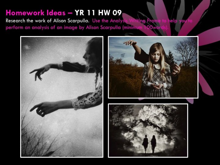 YR 11 HW 09Research the work of Alison Scarpulla.  Use the Analysis Writing Frame to help you to perform an analysis of an image by Alison Scarpulla (minimum 100words).