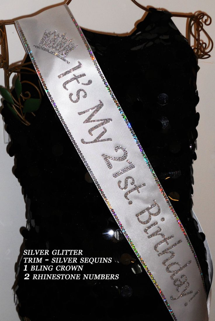 21st. Birthday Sash; Free Personalization,30, 40, 50, 60 Birthday Sash; add your favorite Trim for extra sparkle By Sashanation by Sashanation on Etsy https://www.etsy.com/listing/237839949/21st-birthday-sash-free