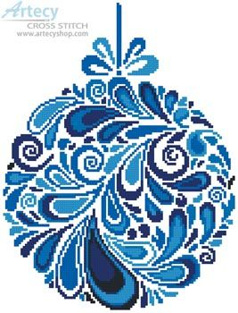 Artecy Cross Stitch. Colourful Christmas Bauble 4 Cross Stitch Pattern to print online.