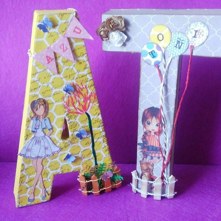 Letras decoradas, con papeles de scrap, tintas, dolls,....