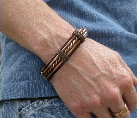 Hommes cuir et cuivre Bracelet, Bracelet de cuir pour hommes, bracelet cuivre…