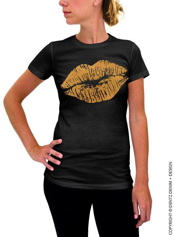 Lips Tshirt - Lipstick Kiss - Valentine's Day - Black with Gold Women's T-shirt by DentzDenim