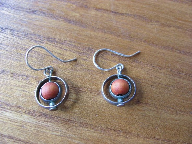 Aarikka Finland Vintage Earrings Red Wood Metal Parts  Dangle 1980s #Aarikka