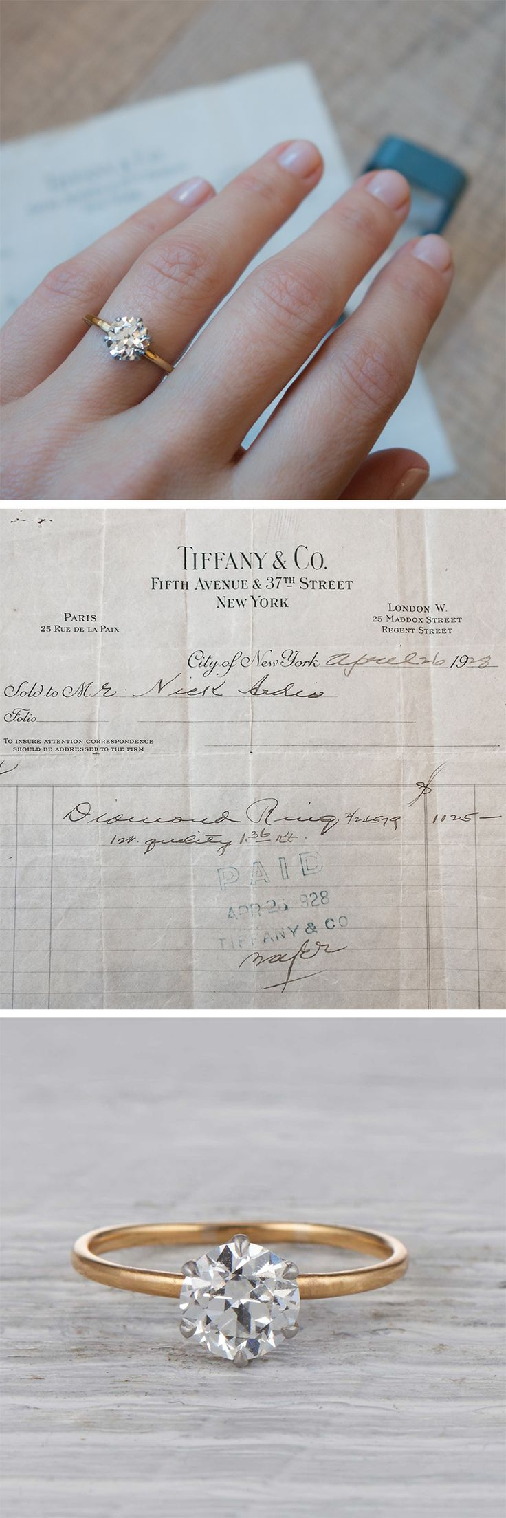 Featuring an original Tiffany & Co. sales receipt from 1928!