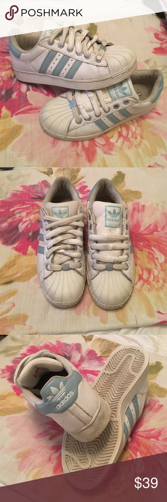 Vintage Baby Blue White Adidas Superstar Sneakers Vintage (from the 90s) adidas sneakers. Not superstar labeled but same style. Size 7.5. TAGS: Brandy Melville superstars sneaker Aqua teal Adidas Shoes Sneakers