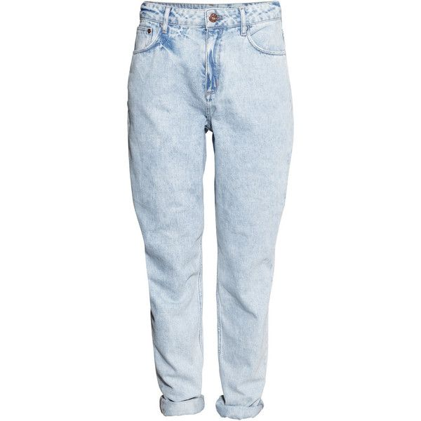 H&M Mom Jeans ($23) ❤ liked on Polyvore featuring jeans, pants, bottoms, denim, light denim blue, high rise jeans, blue jeans, high-waisted jeans, tapered leg jeans and highwaist jeans