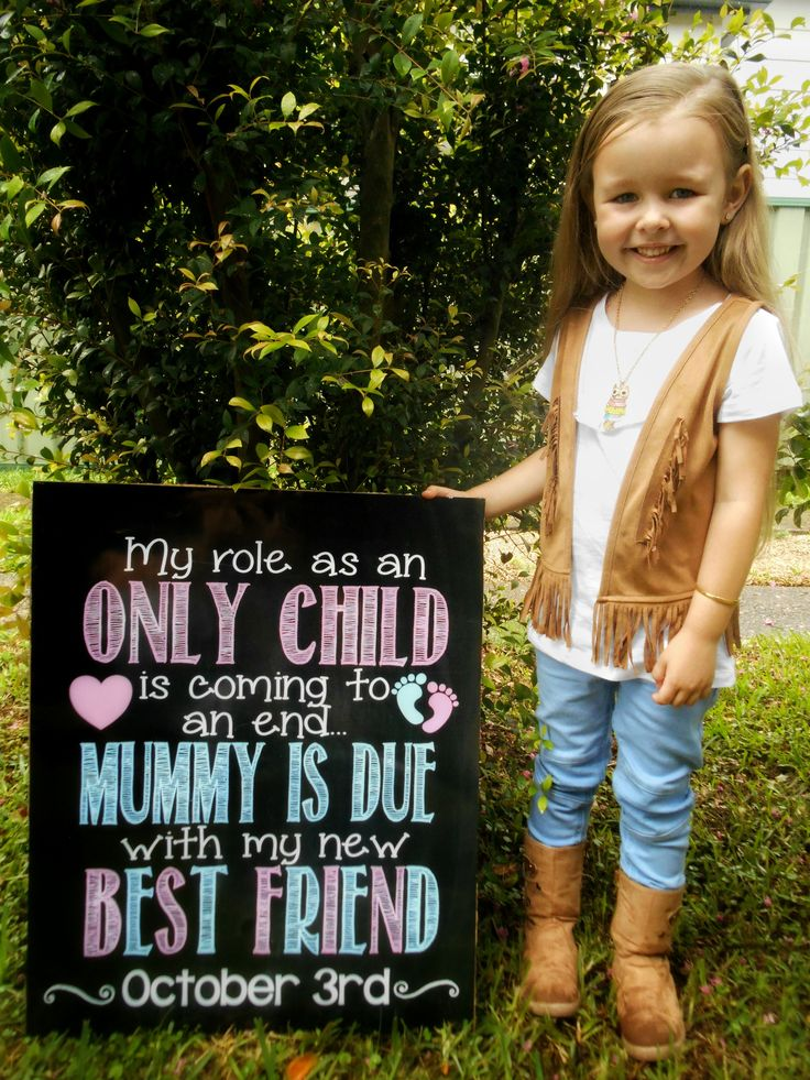 """Fun Printable Chalkboard Style Pregnancy Announcement Sign! Great for photoshoots or baby showers. """"My Role as an Only Child is Coming to an End Mommy is Due with My New Best Friend"""" with the date the baby is arriving :)"""