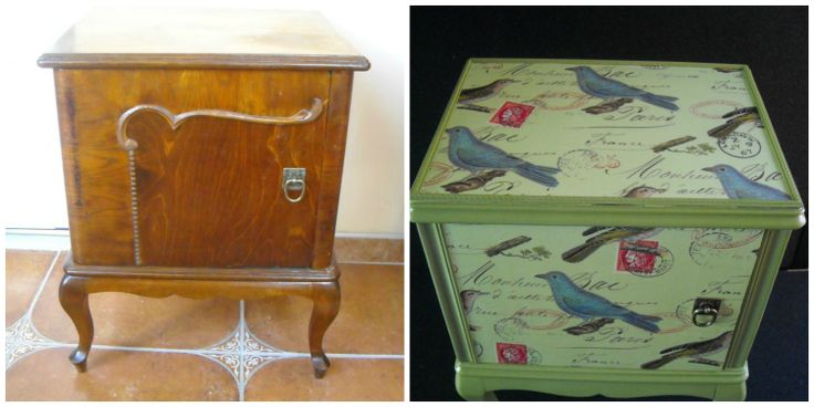 I found this little cabinet by the roadside and I knew I had the perfect paper to decoupage this item. I painted the cabinet a lovely bamboo green and then I used decoupage to decorate the cabinet with this lovely bird paper.
