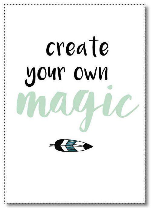 Poster Create your own magic A4. A4-poster in een combinatie van zwart-wit en mintgroen met quote Create your own magic.  De poster is geprint op dik kaartpapier met ruwe matte uitstraling. Ook verkrijgbaar als ansichtkaart. Posters zijn leuk om op te hangen met een washi-tape, neer te zetten in een lijstje of klembord te doen of op te sturen als een grote kaart!