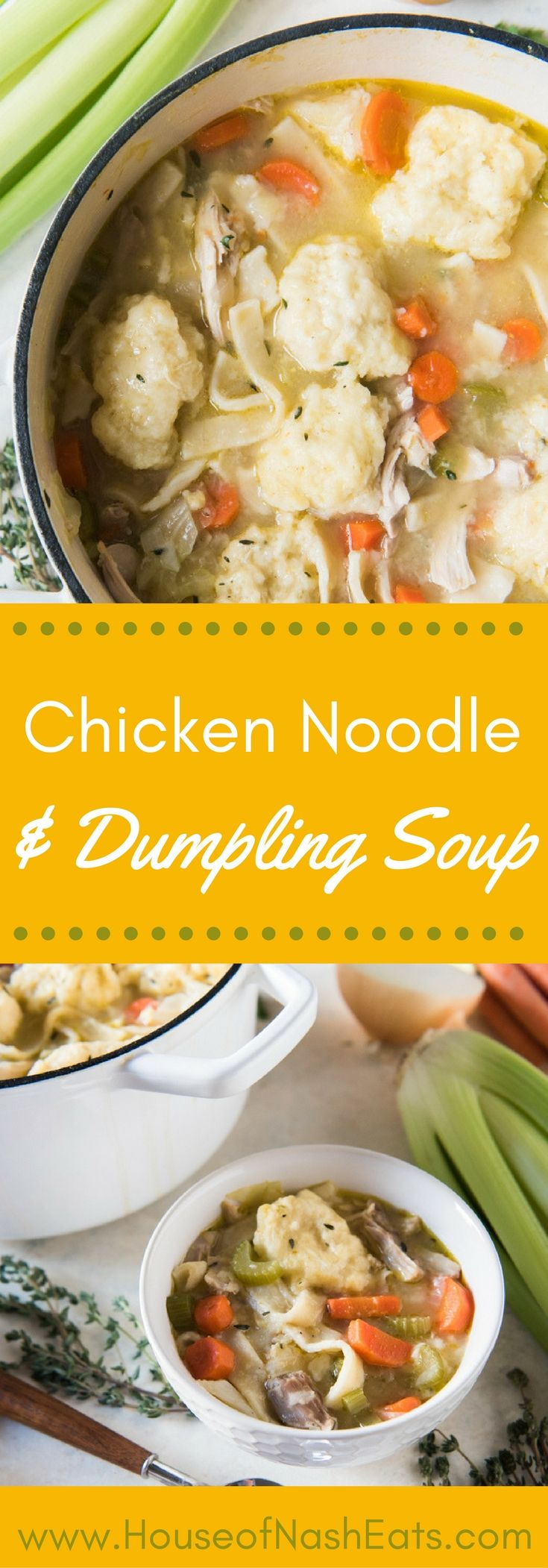 My favorite soup from my childhood, Chicken Noodle & Dumpling Soup, is made with homemade egg noodles, super easy dumplings from scratch, and loaded with shredded chicken, carrots, cabbage, celery, and onions!  It's comfort food at it's best!