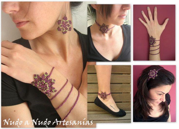 """Collar """"Fusion Star"""", este collar en forma de estrella realizado en macramé, también se transforma en brazalete, tobillera y diadema. 4 en 1."""