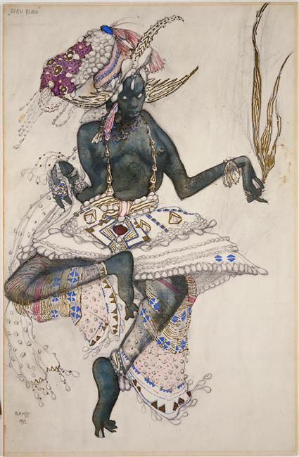 Dieu bleu, by Léon Bakst, 1912, Collection Centre Pompidou.    http://moniledebeaute.tumblr.com/post/16541277830/dieu-bleu-by-leon-bakst-1912-collection-centre