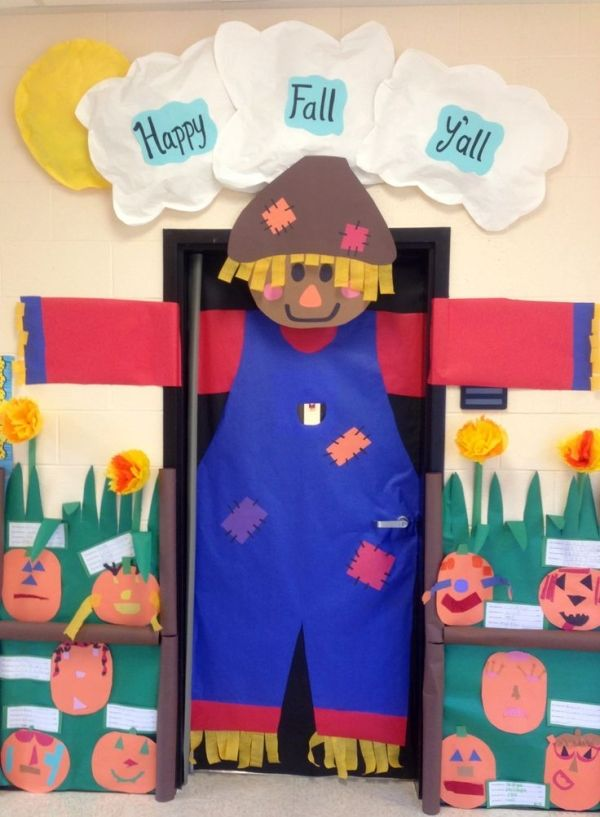 Big scarecrow for fall classroom door decor by phoebe