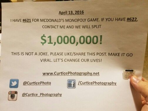 Putting it out there in the Universe. If you don't try you'll never know, right? Here's hoping... April 13th, 2016 I have #621 for McDonald's Monopoly game. If you have #622, contact me and we'll split 1 MILLION DOLLARS! This is not a joke! Please like/share this post. Make it go viral! Let's change our lives! #mcdonaldsmonopoly #foodgames #monopoly #mcdonalds #games#monopolymoney #pieces #621 #622 #gamepieces #parkplace#monopolymcdonalds #goodfortune…